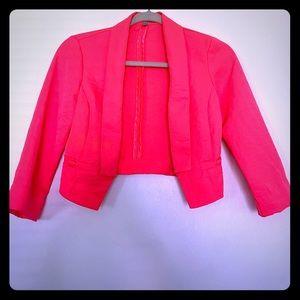 Neon pink cropped open blazer